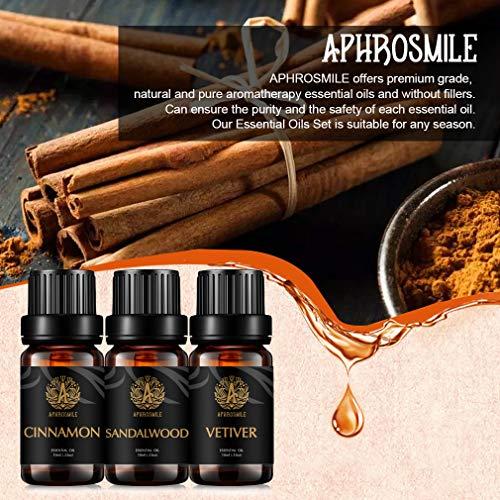 Set di oli essenziali per aromaterapia terapeutica – set di oli essenziali di sandalo e cannella, vetiver al 100% puro oli profumati per aromaterapia, per diffusore, massaggi, umidificatore, 3 x 10 ml