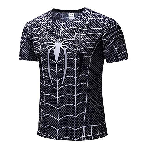 HOOLAZA Spiderman Azul Azul Hombres Compresión de Manga Corta Camiseta para Hombre Fitness Sport Gy