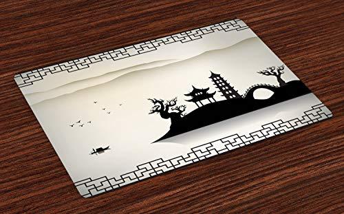 ABAKUHAUS Antikes China Platzmatten, Trostloses Skizzenhaus auf Hügel-Pagoden-Pavillon-Brücke getrockneter Baum-Fischer, Tiscjdeco aus Farbfesten Stoff für das Esszimmer und Küch, Beige Schwarz