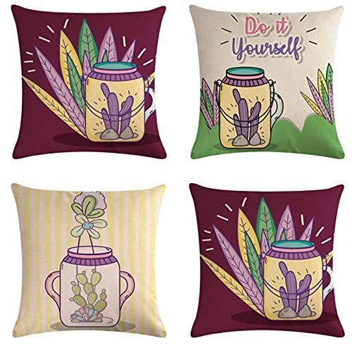 JOVEGSRVA Juego de 4 fundas de cojín para plantas en maceta de cactus, impermeables, para patio, jardín, banco, sala de estar, sofá, decoración de 45 x 45 cm