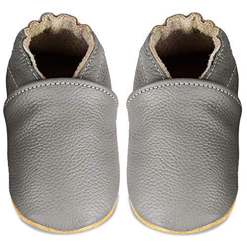 IceUnicorn Weiche Leder Babyschuhe Lauflernschuhe Krabbelschuhe Babyhausschuhe mit Wildledersohlen für Junge Mädchen Kleinkind(Dunkel Grau,6-12)