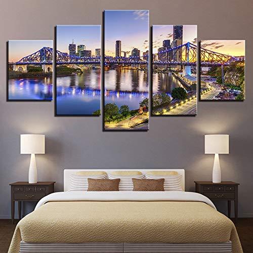 Moderne leinwand bilderrahmen wandkunst Bild australische Stadt Sonnenuntergang Landschaft Poster Raum hauptdekoration Kunst leinwand Moderne rahmenlose