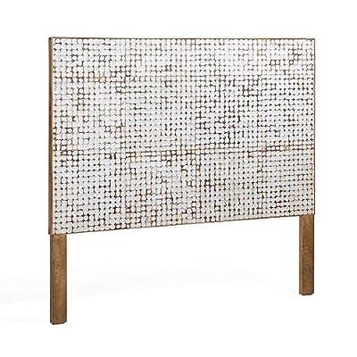 Cabecero para cama de 160 cm de ancho Cabecero hecho con piezas de cáscara de coco Diseño con mosaico elaborado manualmente Ideal para cualquier tipo de dormitorio