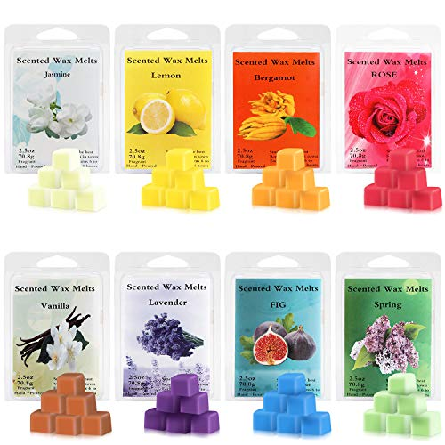 Perkisboby Scented Wax Melts, Soy Wax Cubes with Natural Essential Oil for Assorted Wax Warmer Cubes/Tarts - Rose, Fig, Lavender, Vanilla, Jasmine, Lemon, Bergamot, Spring (8 x 2.5 oz)