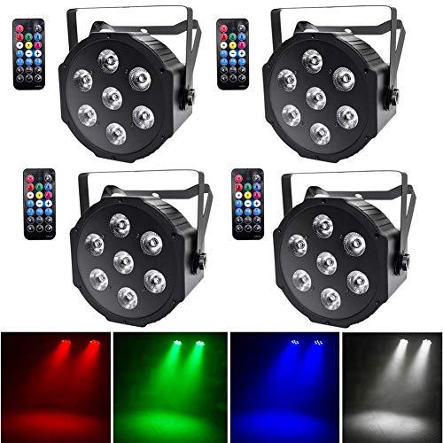 UKing 4pcs LED Par Licht 7 LED Strahler DMX Bühnenlicht Disco Lichteffekte RGBW Scheinwerfer mit Drahtlose Fernbedienung for DJ Discolicht Hochzeit Partylicht