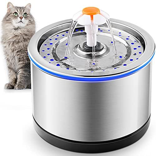PUPPY KITTY Katzenbrunnen, Trinkbrunnen für Katzen und Hunde Automatische, Super leiser 2,5L Edelstahlbrunnen mit Aktivkohlefilter / Pumpe / LED-Licht, Blumentrinkbrunnen mit Anti-Trockenbrennen.