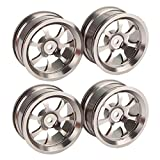 BQLZR Silver 52mm Wheel Rims with 7-Spoke Suitable for RC 1:10 On-Road Racing Car Pack of 4