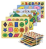Etna Wood Peg Puzzle Set with 6 Puzzles and Wire Storage Rack ABC, Numbers, Shapes, Vehicles and Animals Educational Puzzles for Kids 3 and Up
