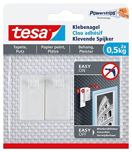 tesa 77772-00000-00 77772-00000 Klebenagel für Tapeten und Putz, 0,5 kg Halteleistung, 2 Stück