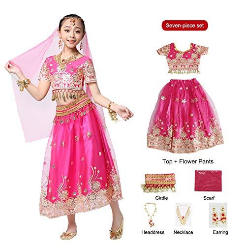 FFKL Meisjes Bollywood Dans Kostuum Set Kids Buik Dans Indische Sari Kinderen Chiffon Outfit Halloween Top Riem Rok sluier Hoofdstuk