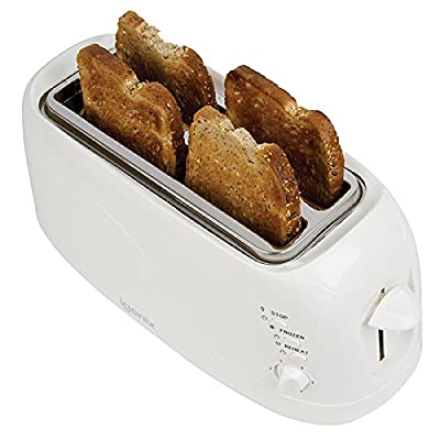 Igenix IG3020 4 Slice Toaster in White, 2 Long Slots with Adjustable Browning Control, Removable Crumb Tray for Easy Cleaning, Frozen and Reheat Function, White