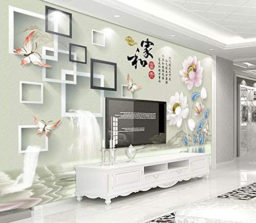 Tapete 3D Wandbild Lotus Box Schmetterling Einfach Fototapete 3D Effekt Vliestapete Wohnzimmer Wanddeko