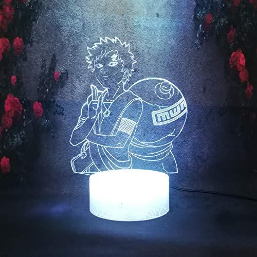 Nachtlicht Fashion Pop Boy Novelty Cartoon Anime Gift Desk Table Lamp Home Bedroom Apply LED 3D Crack Night Light Naruto Figure Gaara Lamp