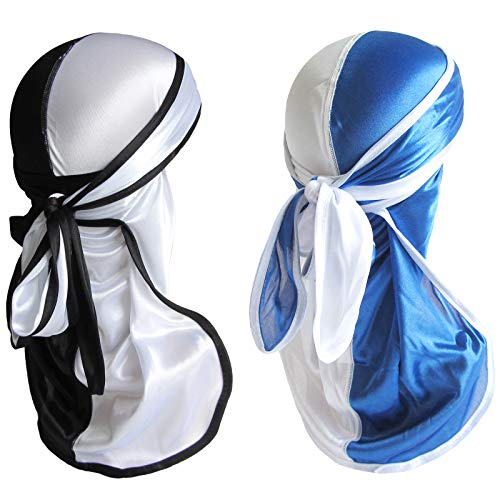 Durags for Men Silky 360 Wave Caps with Long Tail Two Tone Silk Durag Pack 2 PCS