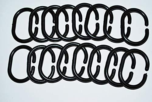 Ekershop Duschvorhangringe 15 Stück Ringe Duschvorhang Farbauswahl Schwarz Weiß Grau Blau Rosa (Schwarz)