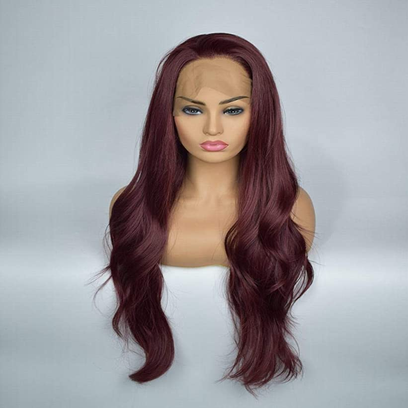 私たち定期的に漏斗Yrattary ダークブラウンの女性の長い巻き毛の自然な合成レースフロントウィッグコスプレまたは毎日の合成ヘアレースかつらロールプレイングかつら (色 : Dark brown)