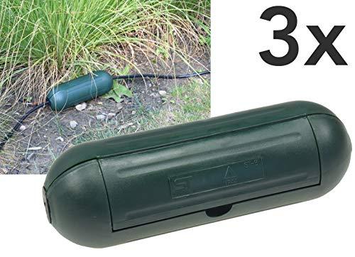 Outdoor Sicherheitsbox IP44 Schutzbox 3Stück Grün Safe-Box für Kabelverbindung Spritzwasserschutz Schutzkaspel für Verlängerungskabel und Stromstecker im Aussenbereich