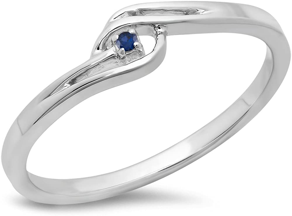 Dazzlingrock Collection 0.03 Carat (ctw) 10K Gold Round Blue Sapphire Ladies Bypass Promise Ring