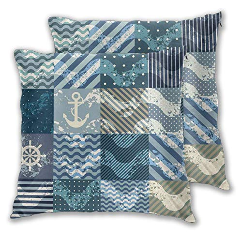 LISNIANY Cushion Cover,Nautical Marine Theme Wave Patterns In Patchwork Style Boxes Squares Striped Anchor Print Blue Beige,Pillow Case Cover Square Cushion Cover for Sofa Car Home Bed Decor 45 x 45cm