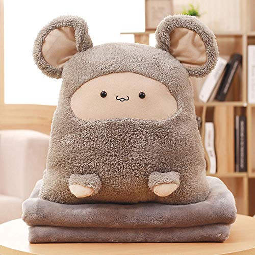 Cartoon anime plus velvet blanket sofa pillow quilt dual purpose square pillow@Gray card kangaroo_Three in one (with small blanket 0.8 * 1 m)