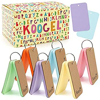 Koogel 300 Pcs Colored Index Cards 3 x 5 Inch Study Cards Colored Notecards on Ring Flash Cards for School Learning Memory Recipe Cards Game Card
