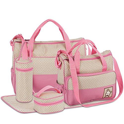 FREESOO Set di 5PCS Borsa Fasciatoio Multifunzione Borsa Cambio Neonato Sacchetto Pannolino per Biberon Materna Pannolino Mat con Grande Capacità Rosa