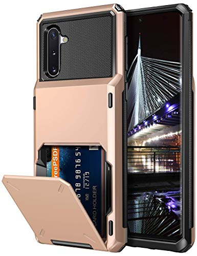 Vofolen for Galaxy Note 10 Case Card Holder [4-Slot Pocket] Wallet Credit Scratch Resistant Dual Layer Protective Bumper Rugged Rubber Armor Hard Shell Cover for Samsung Galaxy Note 10 Rose Gold