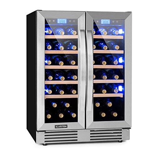 Klarstein Vinovilla Duo42 - Weinkühlschrank, Getränkekühlschrank, Volumen: 126 Liter, 2 x 5 Holzeinschübe, Touch-Bediensektion, LED-Innenbeleuchtung in 3 Farben wählbar, 2 Kühlzonen, schwarz