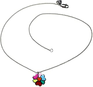 Sterling Silver Pendant 925M Agatha Ruiz De La Prada 40cm. Magnolia Flower Collection Enameled Colors