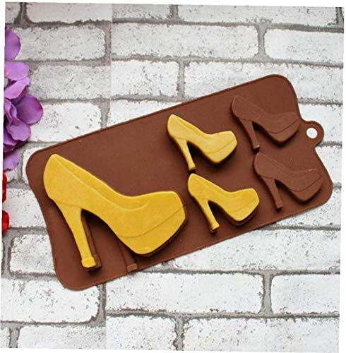 hwljxn 5 Löcher High Heel Schuhe Silikon Schokoladenform Süßigkeiten Zucker Paste Formen Dekorieren Werkzeuge
