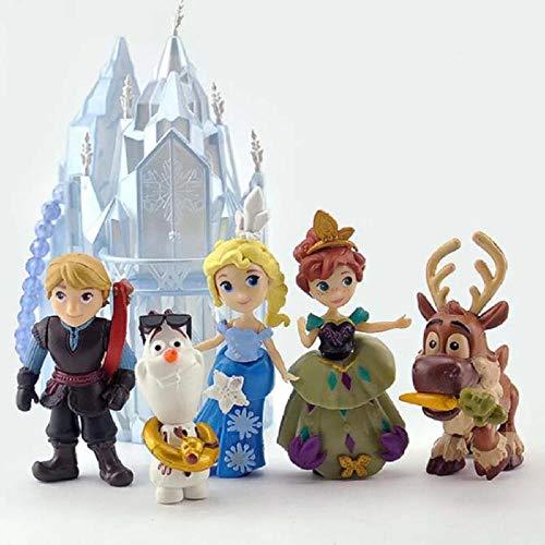 6 unids / Set Figuras de Princesa de Disney Juguetes Frozen Snow Queen Anna Elsa Olaf muñeco de Nieve Kristoff Sven Figura de acción de Juguete para niños
