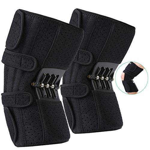 JOMECA Upgraded Knee Booster Brace, Rebound Spring Joint Support, Adjustable Open Dual Strap Patella Support for Knee Osteoarthritis, Squat, Mountaineering, Exercising, One Size Fits Most - Pair