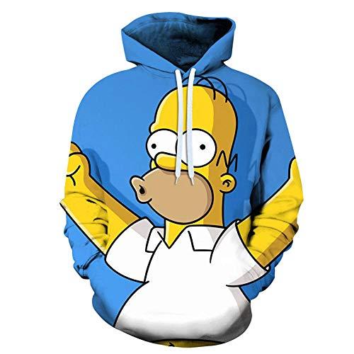 Hombre Sudaderas con Capucha 3D Simpson Hoodie con Mangas Largas Unisex Streetwear Sudadera Deportiva con Cordón-Anime_M