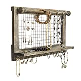 Besti Wooden Wall Mount Organizer for Jewelry - Organizing Accessories Holder with Rustic Vintage Design - Bracelet Rod, Shelf, Metal Hooks - Hanging Storage and Display for Earrings, Necklaces, Rings