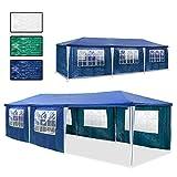 HENGDA Stabiles Hochwertiges Festzelt Wasserdicht Stahlkonstruktion Hochwertiger Gartenzelt Partyzelt Camping SeitenteilenReißverschluss, 3 X 9 m, blau