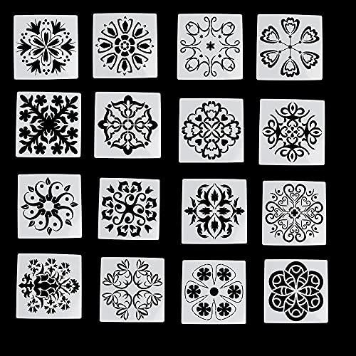 16 stencil mandala per lavori artistici, XiXiRan stencil per piastrelle, taglio laser,...