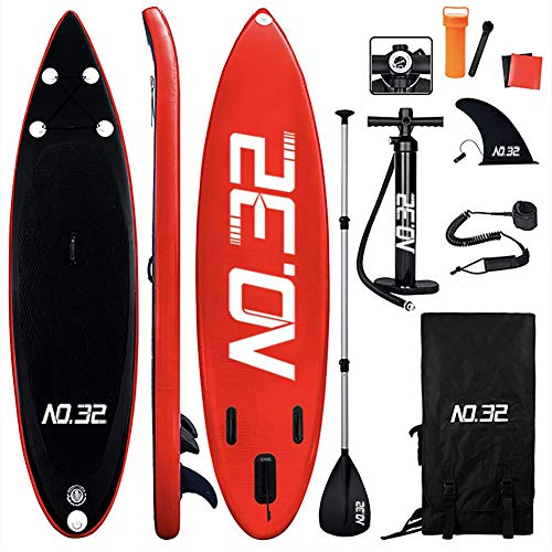 Tabla Hinchable de Paddle Surf + SUP Paddle Remo de Ajustable | Bomba | Mochila | Aleta Central Desprendible | Kit de Reparación y La Cinta para Atar al Pie(300 * 83 * 15cm Grosor, Carga Hasta: 350kg)