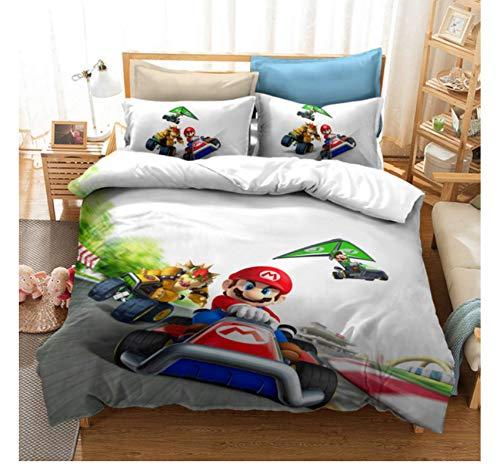 QGHZSCS Juego de Funda nórdica 3D Super Mario Bros Juego de Cama Niños Twin Full Queen King Ropa de Cama 155x220 Cm