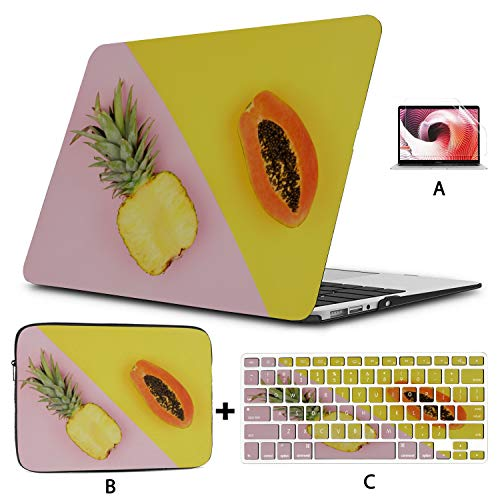 MacBook Air Case 2018 Papaya Pinapple Fruit Mac Book Pro Cover Hard Shell Mac Air 11'/13' Pro 13'/15'/16' with Notebook Sleeve Bag for MacBook 2008-2020 Version