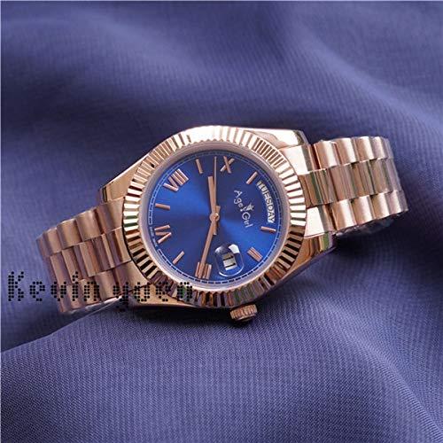 GFDSA Automatische horloges Luxe merk Heren Daydate Rose Goud Zilver Zwart Groen horloge Automatische mechanische roestvrijstalen saffier horloges 41 mm