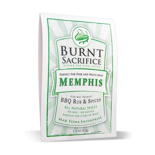 Burnt Sacrifice Memphis Style Gourmet BBQ Spice Dry Rub Seasonings (1.5 OZ Packets Case of 6) Pork Butts Loin Chops Ribs Chicken Turkey Wings