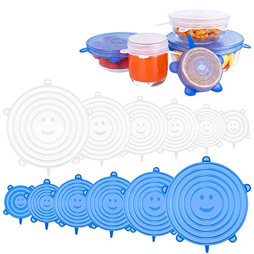 Newdora Silikondeckel Stretch, Silikon Dehnbare Deckel, 12er Silikon Stretch Deckel in Verschiedenen Größen, BPA Frei, Sicher & Gesund für Schüsseln, Becher, Dosen, Obst (Blau/Weiß)