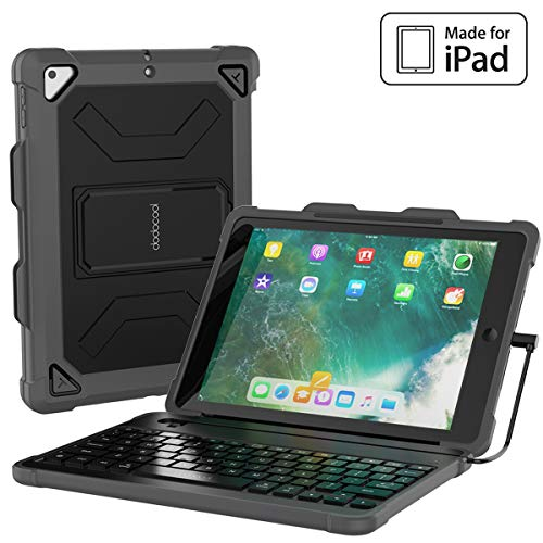 dodocool iPad Keyboard Case for iPad 9.7 2018 6th Generation Cases with Keyboard [MFi Certified] with Stable Wired Connection, Pencil Holder, Shortcuts, Auto Sleep/Wake, Detachable Backlit Keyboard