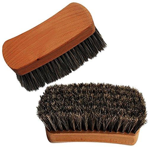 "Shoeslulu 4.25"" Mongolian Horsehair Shine Brush with Wood Handle (1 Pack, [4.25"" Square] Horsehair Brush)"