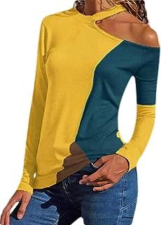 Macondoo Women's Color Block Sexy Long Sleeve Top Tees Cold Shoulder T-Shirts