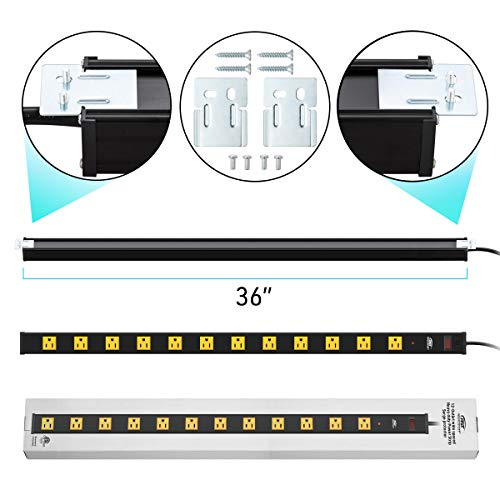 CRST Heavy Duty Surge Protector Power Strip Wide Spaced 12-Outlet 15 Feet Long Extension Cord with Mounting Brackets 15A Circuit Breaker 1800 Joules 8