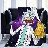 not applicable Thanos Infinity Gauntlet Rick Morty Cartoon Throw Blanket Cubrecama Cubrecamas Microfibra Microfibra Ultra Suave Cálido Sherpa Fleece Mantas Fuzzy Throw para sofá Cama Dormitorio Sofá