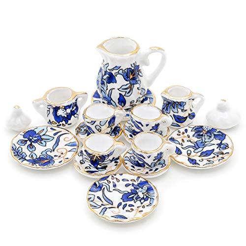 Odoria 1/12 Miniatura 15PZ Conjunto de Tazas de Té Porcelana Azul Cocina Accesorio para Casa de Muñecas
