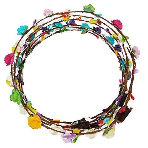 frcolor LED de flores frente de bandas, Leuchten mitras de flores de cinta de guirnaldas de pelo de corona para la boda de Navidad Partido del Halloween, 7pcs