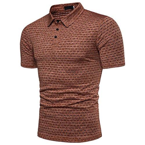 T-Shirt,Sannysis Herren Casual Slim Kurzarm Gestreiftes Top Bluse Herren Regular Fit T-Shirt Basic T-Shirt Polo Hemd (XXXL, Braun)